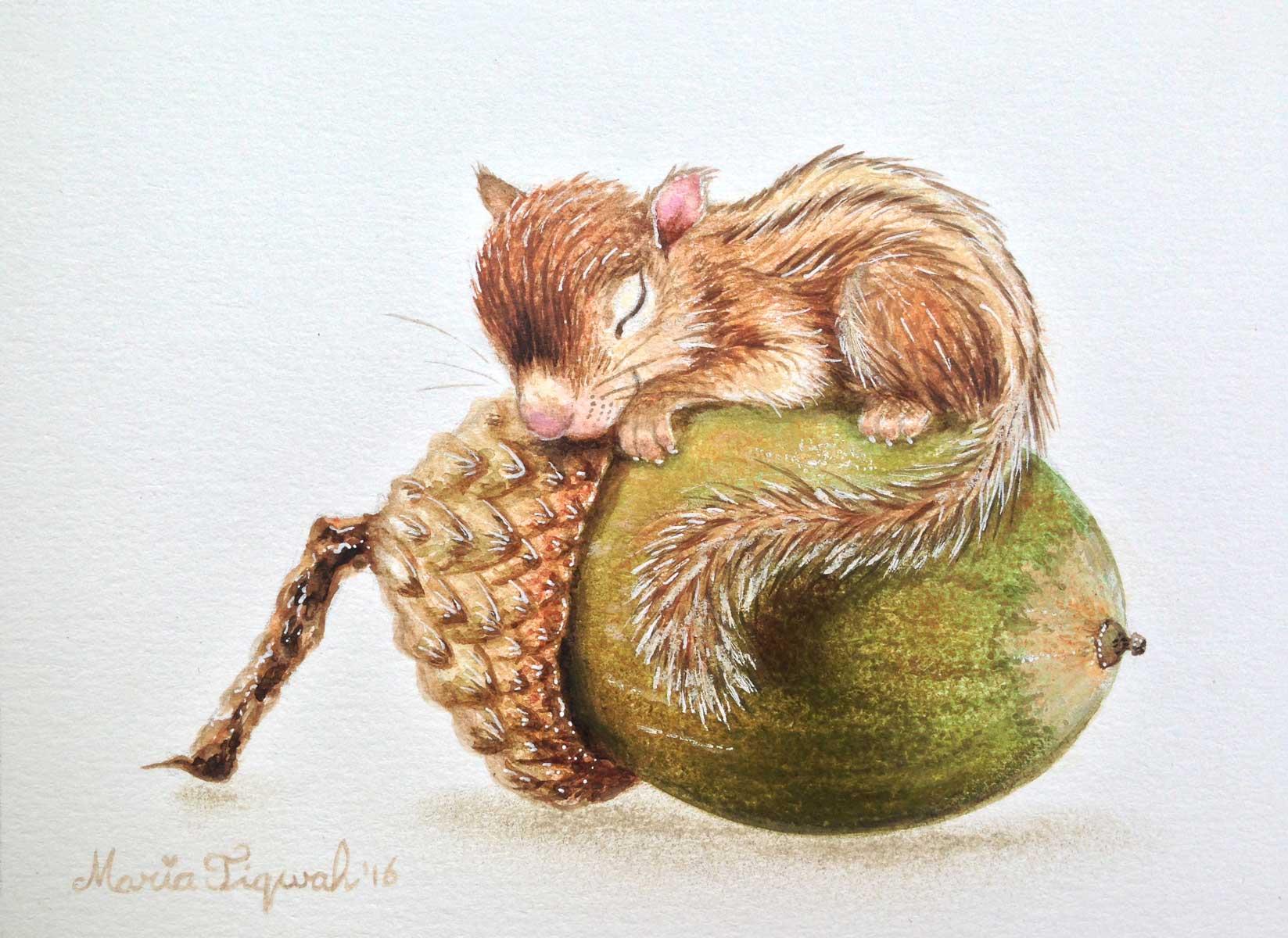 eekhoorntje met eikel